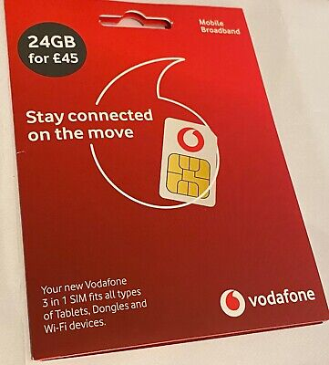 Vodafone Data Sim Card Includes 24Gb - See Our Other Items! • 12.50£
