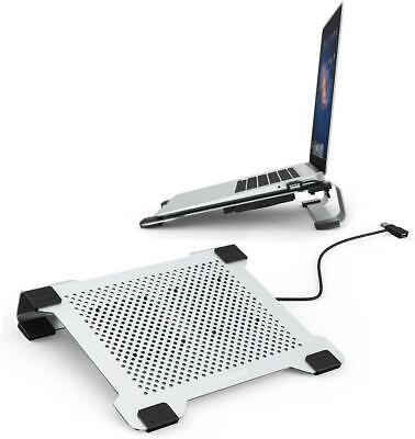 Aluminium Laptop Cooler Cooling Pad Stand, 2 USB Powered Fans, Egonomic Design, • 23.24£