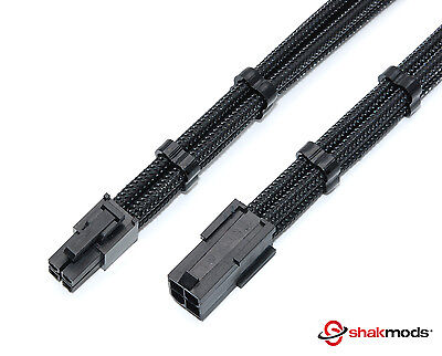 4 Pin 30cm Black ATX CPU Motherboard Sleeved Extension Shakmods + 2 Cable Combs • 5.99£