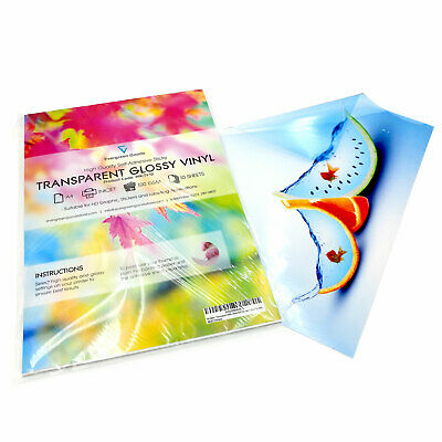 10 Transparent VINYL INKJET Print Glossy Self Adhesive Sticker Decal Event Label • 8.09£