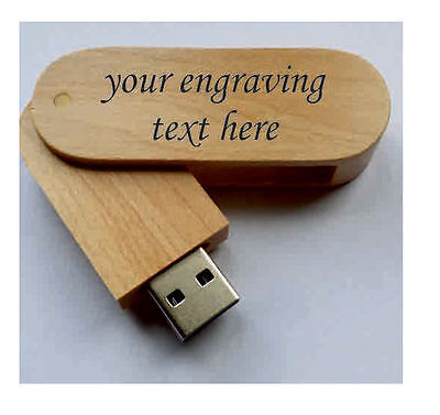 Personalised  Wooden Laser Engraved 16Gb 32Gb Usb Stick Memory Flash Drive  • 9.85£