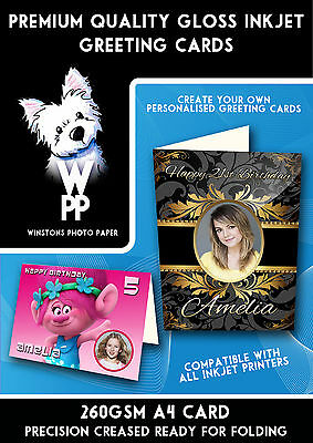 A4 Glossy Inkjet Greeting Cards Premium Quality 260gsm 25 Pack • 12.99£