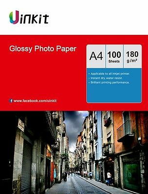 Photo Paper A4 High Glossy 180Gsm Inkjet Printer Paper 100 Sheets Uinkit • 9.99£