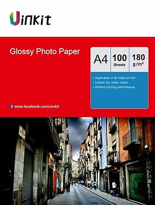 Photo Paper A4 High Glossy 180Gsm Inkjet Printer Paper 100 Sheets Uinkit • 8.99£