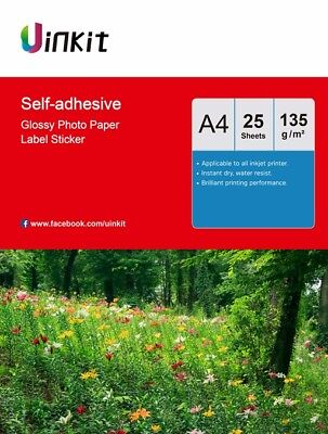 A4 Self Adhesive High Glossy Photo Paper Inkjet Paper 135Gsm - 25 Sheets Uinkit • 5.49£