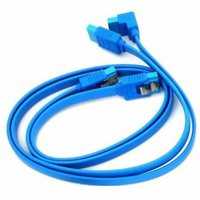 2 X Gigabyte Original Light Blue SATA 3 6GB/s Cable Right Angle Straight UK • 2.99£