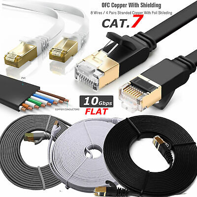 RJ45 Network Cat7 Ethernet Cable Gold Ultra-thin FLAT 10Gbps SSTP LAN Lead Lot • 3.99£