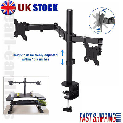 13 - 27  Double Dual Display Computer Screen Monitor Arm Mount Desk Stand LED CC • 17.99£