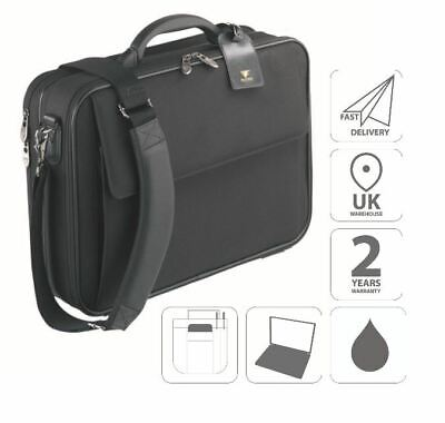 16  Laptop Briefcase Attache Business Bag Case Black FI2574 • 24.99£