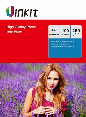 100Sheets 5x7 High Glossy Inkjet Paper Thick Photo Paper 127x178mm 260Gsm Uinkit • 5.99£