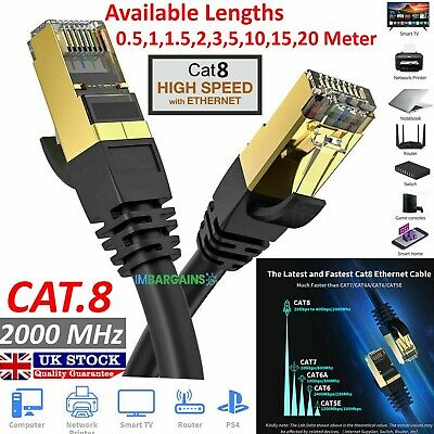 RJ45 Cat8 Network Ethernet Cable Gold Ultra-thin 40Gbps SSTP LOT LAN FLAT Lead • 12.99£