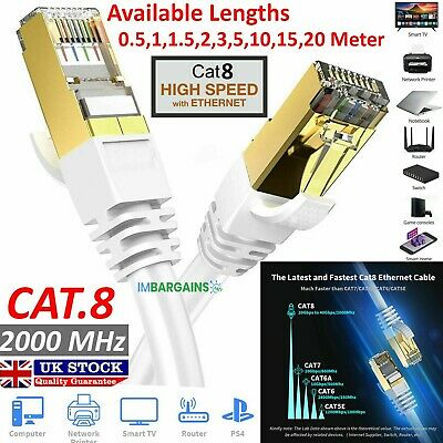 RJ45 CAT8 Ethernet Network SSTP 40 Gbps Patch Lead Cord Cable LOT 0.5M TO 20M UK • 4.45£