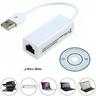 USB 2.0 To Ethernet RJ45 Internet LAN 10/100Mbps Network Converter Adapter Cable • 4.99£