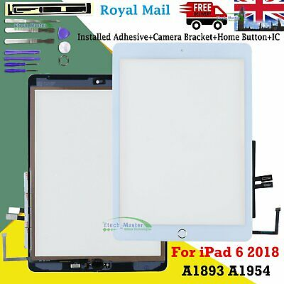 For IPad 6 2018 A1893 A1954 Touch Screen Digitizer + IC Button & Adhesive White • 11.99£