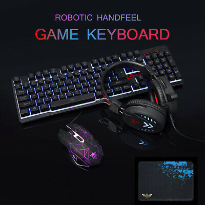 Rainbow LED USB Gaming Keyboard And Mouse Headset Set For PC Laptop PS4 Slim Pro • 23.95£