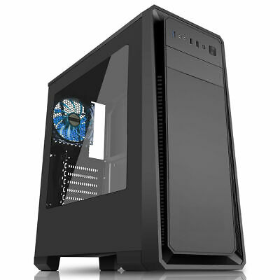 Cit Dark Soul Black Gaming Midi ATX PC Case 12cm Blue LED Fan Side Window USB3.0 • 35.95£