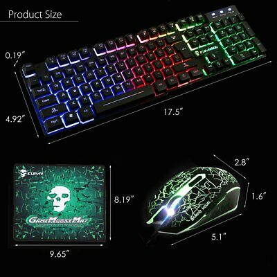 Gaming Keyboard Mouse Set Rainbow LED Backlit Mechanical For PC Laptop PS4 Slim • 12.95£