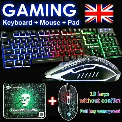 Gaming Keyboard Mouse Set Rainbow LED Backlit Mechanical For PC Laptop PS4 Slim • 13.95£