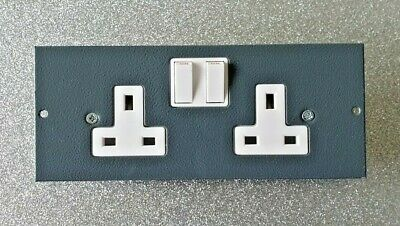 2 Gang 13A 250V Switched UK Plug Socket For Cavity Floor Box BS1363 • 4.99£