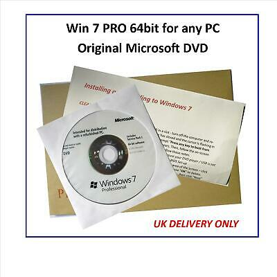 Win 7 PRO 64bit On GENUINE MICROSOFT DVD - Use On Any Make Of PC • 9.99£