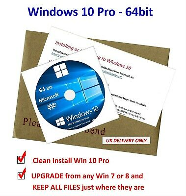 Win 10 PRO 64bit Bootable DVD - New Install / UPGRADE Win 7/8 Keeps Files • 11.49£
