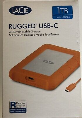 LaCie 1TB Rugged USB-C , USB And Thunderbolt 3 Compatibility-Brand New- Fast DEL • 69£
