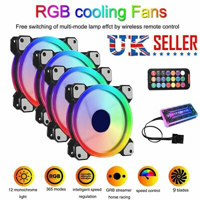4PCS RGB LED Quiet Computer Case PC Cooling Fan 120mm With 1 Remote Control NEW • 23.99£
