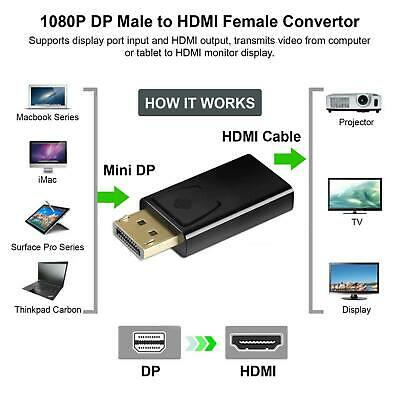 Display Port DP Male To HDMI Female Adaptor Adapter Converter For 1080P HDTV PC • 3.49£