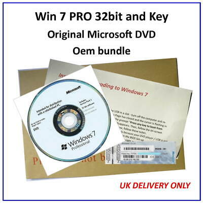 Win 7 PRO 32bit On GENUINE MICROSOFT DVD - Use On Any Make Of PC • 9.75£
