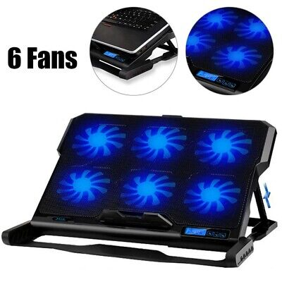 Powerful 6 Fans Laptop Cooler Cooling Mat Pad Stand Fit For Gaming 14 - 15.6  UK • 20.19£