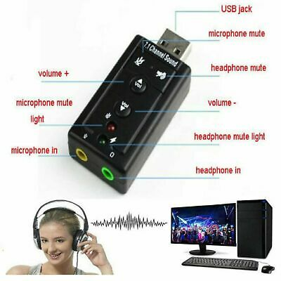 USB PC Laptop To Mic Speaker Headphone 7.1 Channel 3D Audio Sound Card Adapter U • 2.49£