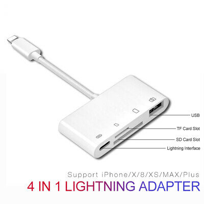 4 In 1 OTG IOS SD TF Card Reader For Iphone Ipad Usb To Lightning Adapter Cable • 9.30£