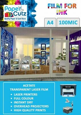 A4 Clear Laser & Copier Transparency OHP Acetate Film 100mic Micron 50 Sheets • 6.89£