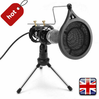 Condenser Microphone W/ Tripod Stand For Game Chat PC Studio Recording Computer • 15.98£