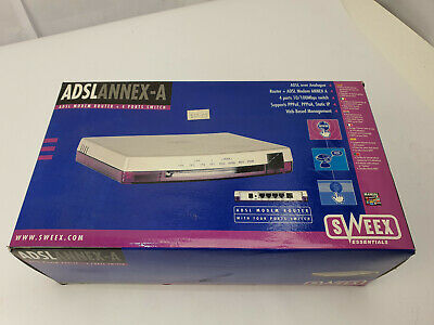 NEW BOXED Sweex ADSL Router + 4 Port Switch Annex A Retro  • 25.99£