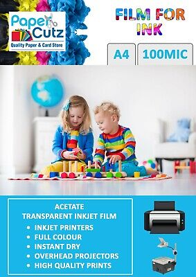 A4 OHP INKJET Colour Printer Clear Film, Acetate, Overhead Projector - 10 Sheets • 5.94£