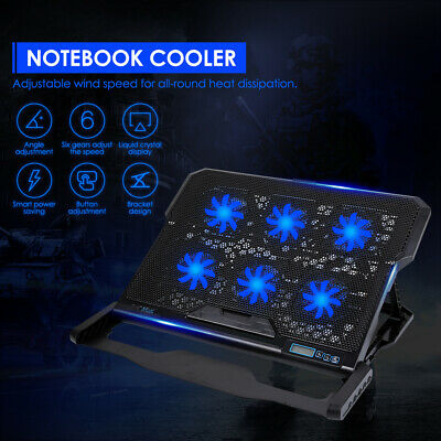 6 Powerful Fans Quiet Laptop Cooler Gaming Cooling Mat Pad Stand Tilt For 12-19  • 18.95£