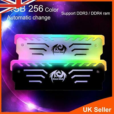 RGB Memory Ram Cooler Computer Vest Light Aluminum Alloy Portable Anode Black UK • 9.49£