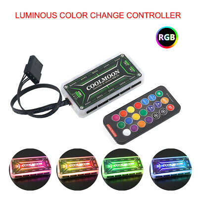 RGB LED Computer Case PC Cooling Fan Controller + RF Wireless Remote Control UK • 6.99£