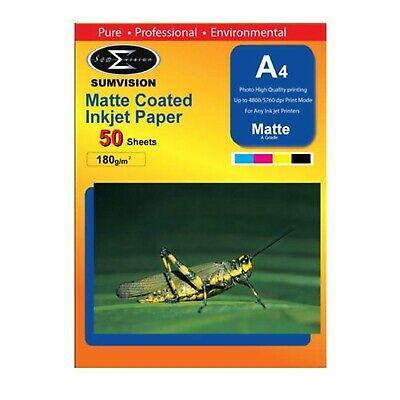 Sumvision Matte A4 Inkjet Photo Paper 180gsm - 50 Sheets • 6.17£