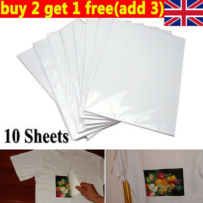 10x A4 Heat Transfer Iron-On Paper For DIY Light & Dark Fabric Cloth T-shirt UK. • 3.22£