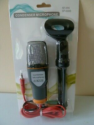 CONDENSER MICROPHONE WITH STAND - PC, LAPTOP, IPAD, IPHONE - 3.5 Mm JACK • 16.99£