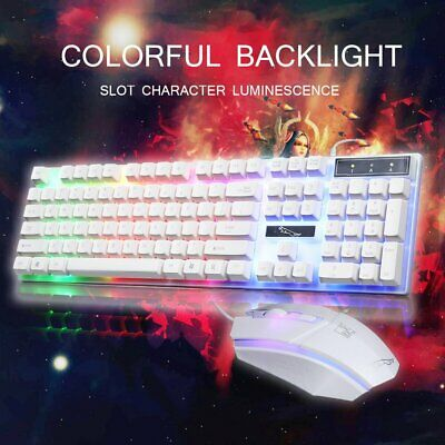 Gaming Keyboard Mouse Set Rainbow LED Wired USB For PC Laptop PS4 Slim Xbox One • 9.95£