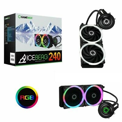 240mm Game Max Iceberg CPU Water Liquid Cooler Cooling System Kit 2x PWM LED Fan • 48.99£
