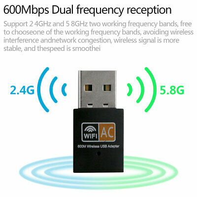600 Mbps 2.4-5ghz USB Dual Band Wireless Adapter WiFi Dongle 802.11 AC Laptop PC • 3.03£