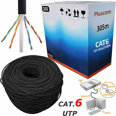 305M RJ45 CAT6 Network Ethernet LAN Cable OUTDOOR 4 Pair UTP ADSL Roll Reel Box • 36.85£