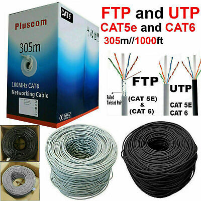 305M RJ45 Cat6 Cat5e Network Ethernet FTP/UTP OUTDOOR Roll Reel Cable Modem LOT • 39.89£