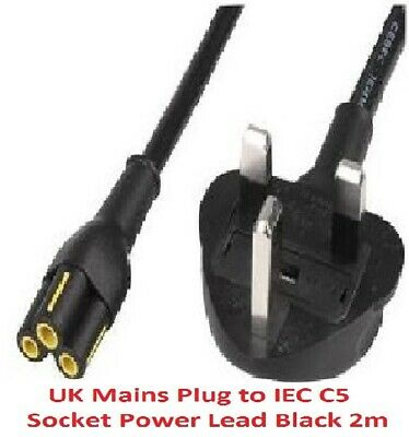 Genuine Brand C5 CLOVERLEAF 3 PIN MAINS CABLE CLOVER LEAF  LEAD POWER CORD 2M UK • 6.99£
