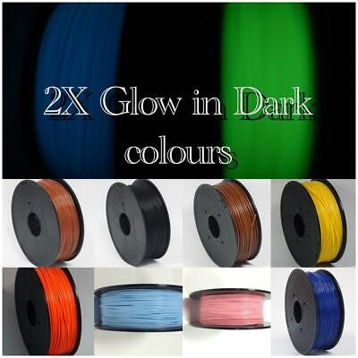 ABS 3D Printer Or Pen Filaments 1.75mm 2.2LBS/1KG With Spool Glow In Dark Colors • 9.99£