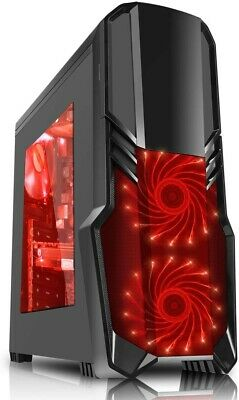 CiT G Force Black Mid ATX PC Gaming Case 2x Red Front 1x Red Rear Fans + 600PSU • 21£